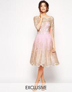 Chi Chi London Premium Metallic Lace Prom Dress with Bardot Neck