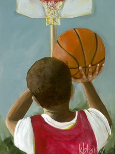 """""""Lil' Basketball Star 1"""" Canvas Wall Art from Oopsy Daisy, Fine Art for Kids. Size 10''x14'' for $59. Multiple sizes and additional framing options available. Browse our collection of wall art for kids!"""