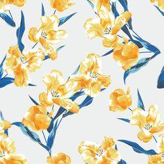 Yellow Tulips by Petroula Tsipitori Seamless Repeat Vector Royalty-Free Stock Pattern