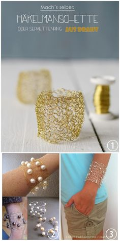 DIY Crochet and Knit Wire Bracelets. In the past I've posted knit wire bracelets, so when I saw the crochet wire napkin holder (top photo) from Sinnenrausch, I knew it would make a nice bracelet for those who don't knit. Crochet Wire Bracelet/Napkin Holder Tutorial from Sinnenrausch. She explains how to easily add beads. Knit Pearl and Wire Cuff from COCO Knits. Knit Pearl and Sterling Silver Wire Cuff from inspiration & realisation.