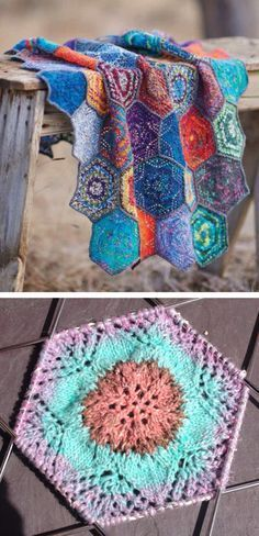 Knitting Pattern for Margarita's Coverlet - This patchwork afghan is composed of simple lace hexagons, with a star pattern at the center, designed for leftover scraps of self-patterning sock yarn. 3 sizes are offered but it is easy to modify. Each hexagon takes about 25 yards or so of sock yarn. Designed by Andrea Jurgrau