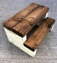 Rustic Kid's Wooden Step Stool - Handmade, Shabby Chic, Multiple Colors Available Beginner Woodworking Projects, Popular Woodworking, Fine Woodworking, Woodworking Ideas, Woodworking Chisels, Woodworking Classes, Youtube Woodworking, Woodworking Store, Woodworking Basics