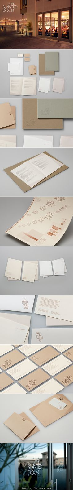 The slanted door branding logo stationary corporate identity restaurant menu business card letterhead papercraft paper folder minimal graphic design