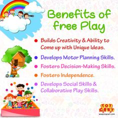 Give your children some time to run in the direction of their imagination! Get some amazing games and toys from www.toycart.com and let your kids spend some time exploring their fun world! #play #kids #games #toys #freeplay #benefitsofreeplay