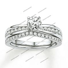 Women's Wedding Ring Pair Pave Set Reverse Tapered Simulated Diamond 1.32 CT #Br925