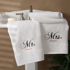 1695 - Mr. and Mrs. Collection Personalized Bath Towel Set of 2