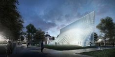 Bjarke Ingels firm BIG has unveiled its design for this years Serpentine Gallery Pavilion in London, UK. The Danish architects design was imagined as solid wall that has been unzipped to create a three-dimensional space. It features a tall pointed Architecture Program, Pavilion Architecture, Futuristic Architecture, Contemporary Architecture, Landscape Architecture, Architecture Design, Chinese Architecture, Landscape Design, Brick Building