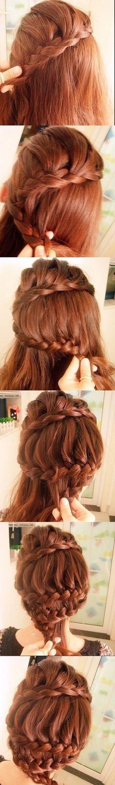 small hair pins following the line of the braids with a star motif would look amazing and wouldn't hide the really pretty braids