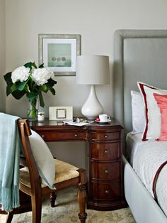 In a tiny bedroom, even if you can fit in a bed, nightstand, dresser and desk, the end result will likely feel cramped. Instead, consider opting for furniture that serves double duty, like this desk that also works as an innovative side table.