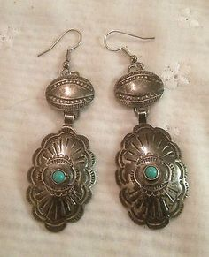 1930 Silver Turquoise Navajo Concho Ear Ring -*-*-50