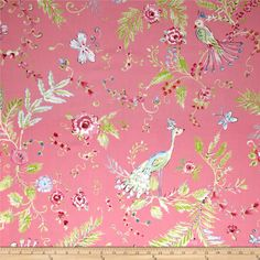 Chinoiserie Chic Birdsong Pink from @fabricdotcom  By Dena Designs for Free Spirit, this cotton print fabric is perfect for quilting, apparel and home decor accents. Colors include red, green, white, blue, pink, and grey.