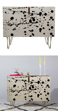 Hey, make all the mistakes you want; they can be a dynamic way to offer an honest expression. The Splatter Matter Credenza takes full advantage with a cheeky scene of paint drops in the timeless black-...  Find the Splatter Matter Credenza, as seen in the Labor Day Weekend Sales: Furniture Collection at http://dotandbo.com/collections/labor-day-weekend-sales-furniture?utm_source=pinterest&utm_medium=organic&db_sku=131807
