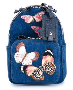 VALENTINO Mini Butterfly Denim Backpack. #valentino #bags #leather #lining #denim #backpacks #cotton #