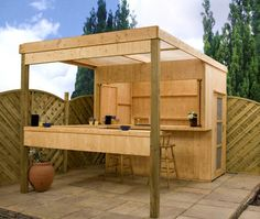 Outdoor bar shed ideas, building design for pergola, woodworking projects made easy Backyard Bar, Backyard Landscaping, Backyard Ideas, Patio Bar, Modern Backyard, Outdoor Wood Bar, Outdoor Fire, Outdoor Pergola, Outdoor Dining