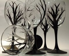 Hand Painted Black and White Tree Wine Glass by ElegantlyHaunted, $20.00