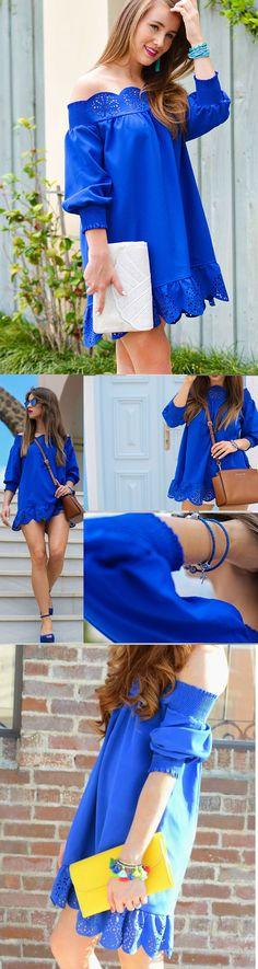 Blue Off The Shoulder Peplum Hem Dress,Bright Blue For Summer