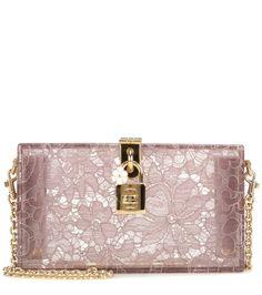 Rosafarbene Boxclutch Dolce aus Plexiglas mit Taormina-Spitze By Dolce & Gabbana