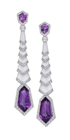 Avakian 'Gatsby' transformable drop earrings in white enamel with amethysts and diamonds