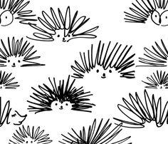 hedgehog squiggles fabric by karismithdesigns on Spoonflower - custom fabric
