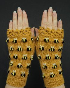 Mustard Gloves with Bees Fingerless Gloves With Bees Knitting Accessories, Handmade Accessories, Winter Accessories, Crochet Bee, Crochet Pouch, Crocheted Lace, Fingerless Gloves Knitted, Save The Bees, Bee Keeping