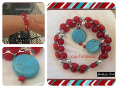 Red and Turquoise Coil Bracelet // Gemstone by JewelryByScotti