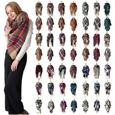 Mens Silk Scarves, Womens Scarves, Plaid Blanket Scarf, Pashmina Scarf, Bandana, Plaid Fashion, Winter Fashion, Fashion Scarves, Style Fashion