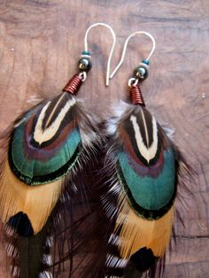 Unique Feather Earrings by BirdOnWireDesigns on Etsy, $25.00