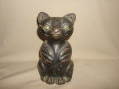 Antique Art Deco National Foundry Cast Iron Full Bodied BLACK CAT DOORSTOP - Heavy