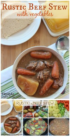 Rustic Beef Stew Recipe with Vegetables. Make it easily in the Slow Cooker. Easy Crock-Pot Recipe. Slow Cooker DInner Soup Idea on Frugal Coupon Living.