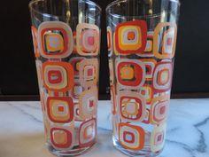 Retro 70's Style Mod Days of Rowan & Martin's Laugh In Tangerine Geometrical Art Pattern Pair of Beverage Glasses on Etsy, $40.00
