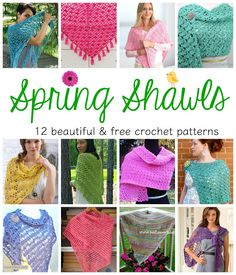 Spring Shawls! 12 Beautiful & Free Crochet Patterns featured on Fiber Flux