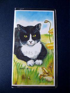 Tuexdo Cat Checkbook Cover  Black White Cat by phoenixchiu on Etsy