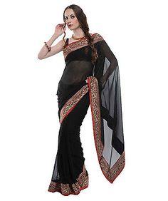 Chiffon Saree - Elegant Black Gold Brocade Border Indian Women Fashion Attire | eBay