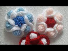 Tomurcuklu süsleme çiçeği nasıl yapılır? - YouTube Freeform Crochet, Irish Crochet, Diy Crochet, Crochet Stitches, Crochet Flower Tutorial, Crochet Flower Patterns, Crochet Flowers, Weaving Patterns, Knitting Patterns