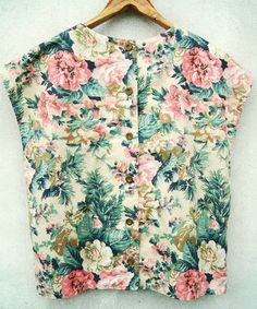 Vintage Tropical Flower Printed Beige Cap Sleeves Boxy Top | Sumally