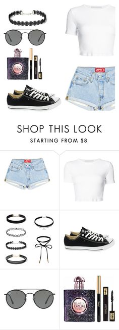 """SN"" by teen105 ❤ liked on Polyvore featuring Rosetta Getty, Converse, Ray-Ban, Yves Saint Laurent and Levis"