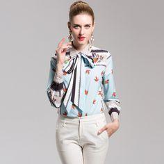 9d97e1b4adbe4 High Quality Runway Designer Blouse Fashion Print Tops Women Long Sleeve  Bow elegance Casual Shirts