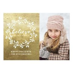 Believe | Golden Holiday Card - invitations personalize custom special event invitation idea style party card cards