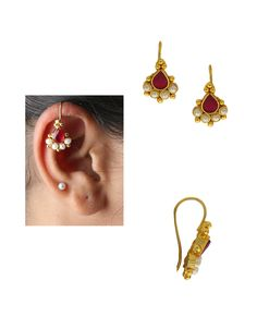 Buy Simple Gold Finish Red Colour Bugadi For Bride Online Ear Jewelry, Bridal Jewelry, Jewelry Art, Gold Jewelry, Fashion Jewelry, Women's Fashion, Bar Earrings, Simple Earrings, Jewellery Earrings