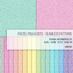 SALE! Pastel Polka Dots Digital Papers Seamless Patterns Rainbow color Transparent PNG Wallpaper Backgrounds Polkadots Baby Pink Blue Purple