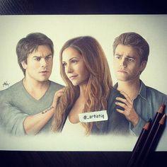Nice Artistic Pencil Drawing of TVD Trio