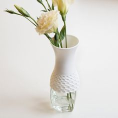 Such a unique idea!   Lace Vase made out of rubber. It fits onto recycled jars and bottles.