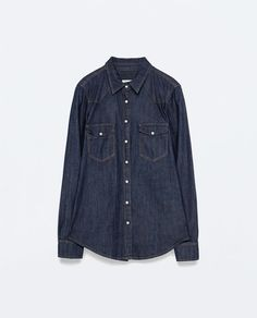 finally found the perfect colored denim shirt.   ZARA - WOMAN - DENIM SHIRT