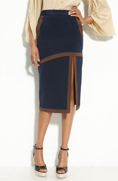 #Love the contrast trim and front slit women skirt #2dayslook #alex2578923 www.2dayslook.com