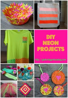 DIY Neon Projects including neon perler bead bowls and suncatchers, a neon ombre tote, neon tee shirt, neon god's eye yarn craft and more #neon #neoncrafts #tulip #tulipslickdimensionalfabricpaint #darice #jacquardtextilepaint  #benfranklincraftsandframes #craftsandframes #yesterdayontuesday
