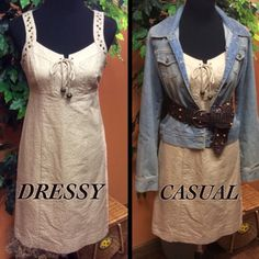 MADISON WOMAN KHAKI DRESS Beautiful dress by Madison Woman that you can wear as dressy as you like or casual.. Perfect condition with lace tie at the chest topped off with beads and metal embellishments on the arms. Hidden back zip and fully lined Madison Woman Dresses