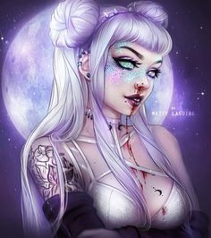 #buns #tumblr #tattoo #bra #lingerie #piercing #blood #nose #bleeding #lilac #pastel #goth #glitter #bjd #choker #hair #drawing #moon