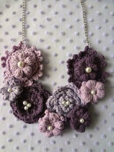Crochet Purple Puff Flower Necklace PDF Pattern- crochet necklace,crochet pattern mori necklace,romantic,flower necklace, puff flower