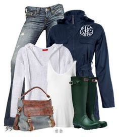 """Green Hunter Boots"" by kginger ❤ liked on Polyvore featuring True Religion, Etcetera, Theory, Hunter, AmeriLeather and Georgini"