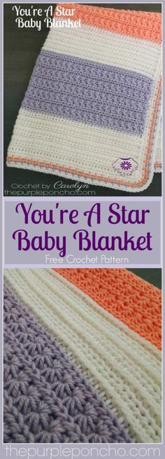 You're A Star Baby Blanket is the first in my collection of Star Stitches. I fell in love with this stitch and couldn't stop making them. I love the way they look with the circular shap… Crochet Afghans, Crochet Baby Blanket Beginner, Afghan Crochet Patterns, Crochet Blankets, Baby Afghans, Crochet Baby Blanket Free Pattern, Plaid Au Crochet, Crochet Stars, Crochet Star Stitch